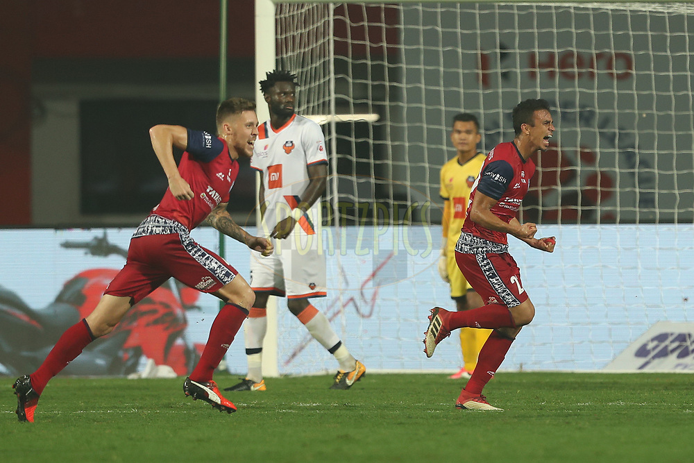 Emerson Gomes de Moura of Jamshedpur FC celebrates scoring  during match 25 of the Hero Indian Super League 2018 ( ISL ) between Jamshedpur FC and FC Goa held at JRD Tata Sports Complex, Jamshedpur, India on the 1st November  2018<br /> <br /> Photo by: Ron Gaunt /SPORTZPICS for ISL