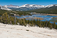 View from Pothole dome over a flooded Tuolumne meadows, Yosemite national park, California