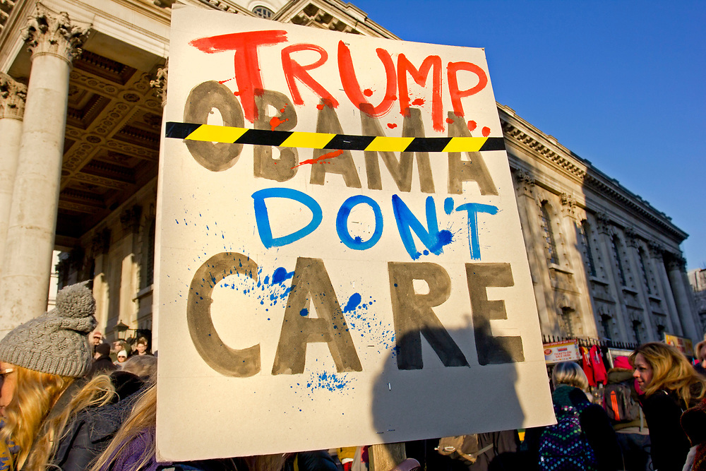 Approx. 100,000 protesters  marched in Central London to express their opposition to Donald Trump's presidency. Women's March On London was one of hundreds of protests taking place in major cities around the globe to mark the politician's inauguration.<br /> January 21 2017, the first day of Donald Trump's Presidency.