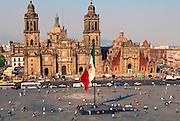 MEXICO, MEXICO CITY, ZOCALO the Cathedral and El Sagrario