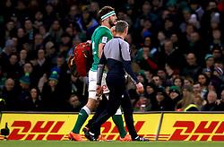 Ireland's Caelan Doris leaves the pitch injured during the Guinness Six Nations match at the Aviva Stadium, Dublin.