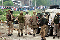June 15, 2018 - Anantnag, Jammu And Kashmir, India - Massive clashes erupted between protesters and government forces on 06,June,2018 after Eid prayers at south Kashmirs Anantnag district some 50 kilometers from summer capital of Indian controlled Kashmir on the eve of Id-ul-Fitir .As soon as Eid prayers concluded youth held protest demonstrations.They were chanting pro-Islam and .pro-freedom slogans.Youth hurled stones and bricks on the forces who lobed tear shells,used sound shells,pellets and resort Ariel firing. (Credit Image: © Aasif Shafi/Pacific Press via ZUMA Wire)