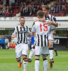 Dunfermline's David Hopkirk cele (15) scoring their fifth goal. <br /> Dunfermline 7 v 1 Cowdenbeath, SPFL Ladbrokes League Division One game played 15/8/2015 at East End Park.