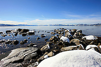 24 February 2008: View of Kings Beach rocks covered in snow after a late winter storm in Lake Tahoe, Truckee Nevada California border in the Sierra Mountains.