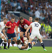 Twickenham, England.  French, Prop, Vincent DEBATY, tramples over Geoff PARLING, as he tries to force himself to the try line, during the QBE International. England vs France [World cup warm up match]  Saturday.  15.08.2015,  [Mandatory Credit. Peter SPURRIER/Intersport Images].