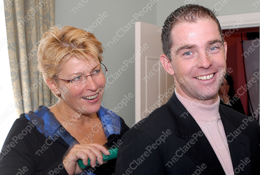 Olympic Showjumper Cian O'Connor getting some therapy from Nikken therapist Gina Sivyer at the official launch of the Nikken Wellness Homes in the East Clare Golf and Holiday Center on Friday. Photo by Reg Gordon