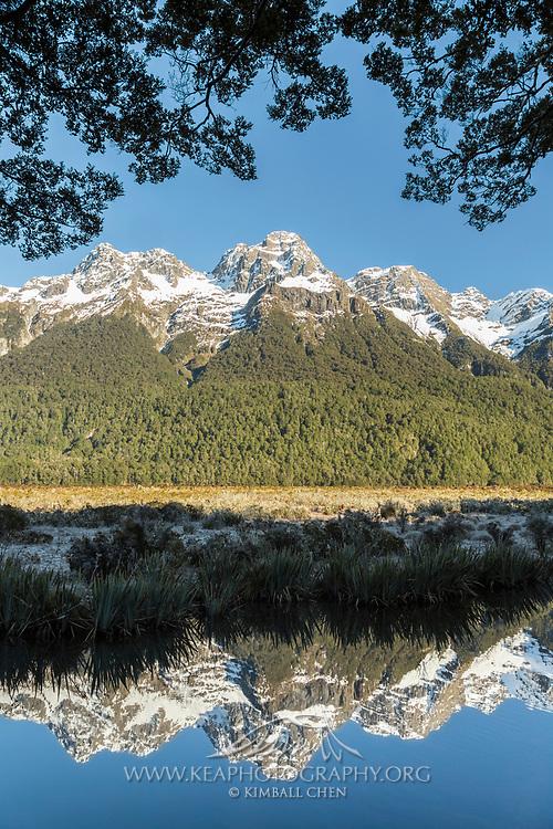 Earl Mountains reflecting onto Mirror Lake, Fiordland National Park, New Zealand