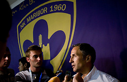 Coach of NK Maribor Darko Milanic at press conference afterThird Round of Champions League qualifications football match between NK Maribor and FC Zurich,  on August 05, 2009, in Ljudski vrt , Maribor, Slovenia. Zurich won 3:0 and qualified to next Round. (Photo by Vid Ponikvar / Sportida)