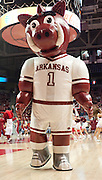 Dec 17, 2011; Fayetteville, AR, USA; The Arkansas Razorbacks mascot Boss Hog performs before a game against the Southeastern Louisiana Lions at Bud Walton Arena. Arkansas defeated Southeastern Louisiana 62-55. Mandatory Credit: Beth Hall-US PRESSWIRE