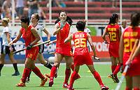 TUCUMAN ARGENTINIE - China heeft gescoord  tijdens de wedstrijd tussen de vrouwen van Duitsland en China tijdens de finaleronde van de Hockey World League. FOTO KOEN SUYK