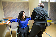 A prisoners wife goes thorugh the search process to get inside to visit her husband on a closed visit. HMP/YOI Portland, Dorset. A resettlement prison with a capacity for 530 prisoners. Portland, Dorset, United Kingdom.