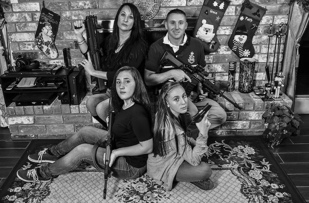 Guy Carlburg's family poses for Christmas card photo in Slidell, Louisiana.
