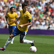 Oscar, Brazil, in action during the Brazil V Mexico Gold Medal Men's Football match at Wembley Stadium during the London 2012 Olympic games. London, UK. 11th August 2012. Photo Tim Clayton