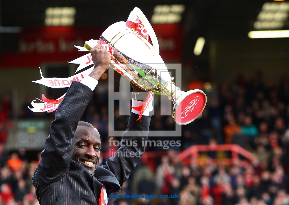 Picture by John Rainford/Focus Images Ltd. 07506 538356.05/05/12.Chris Powell of Charlton Athletic and the Npower League 1 trophy at The Valley stadium, London.