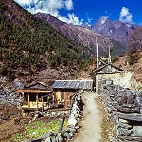 Sherpa houses near Lukla in the Khumbu region of Nepal. 1979