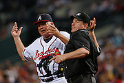 Atlanta manager Bobby Cox gets ejected by home plate umpire Paul Emmel after arguing a strikeout call during the game between the Atlanta Braves and the Philadelphia Phillies at Turner Field in Atlanta, GA on May 25, 2007.