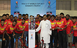 September 1, 2017 - Kolkata, West Bengal, India - West Bengal Sports Minister Mr. Arup Biswas and other Footballer players atten a opening ceremony FIFA Under 17 World  Cup  trophy on September 01, 2017 in Kolkata in India. (Credit Image: © Sanjay Purkait/Pacific Press via ZUMA Wire)