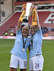 February 23, 2019 - Sheffield, England, United Kingdom - Georgia Stanway and Keira Walsh celebrate winning the league cup during the  FA Women's Continental League Cup Final  between Arsenal and Manchester City Women at the Bramall Lane Football Ground, Sheffield United FC Sheffield, Saturday 23rd February. (Credit Image: © Action Foto Sport/NurPhoto via ZUMA Press)