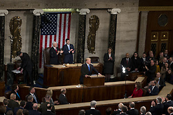 January 30, 2018 - Washington, District Of Columbia, U.S. - United States Vice President MIKE PENCE, left, and Speaker of the United States House of Representatives PAUL RYAN, Republican of Wisconsin, right, look on as United States President DONALD J. TRUMP delivers the State Of The Union Address at the United States Capitol. (Credit Image: © Alex Edelman via ZUMA Wire)