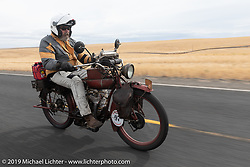 Kevin Naser riding his 1916 Indian Powerplus in the Motorcycle Cannonball coast to coast vintage run. Stage 14 (303 miles) from Spokane, WA to The Dalles, OR. Saturday September 22, 2018. Photography ©2018 Michael Lichter.