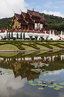 Royal Pavilion Ratchapruek, that is Ho Kham Luang in Thai, is the most impressive display of architecture at Royal Flora Ratchaphruek. Built in the style of a royal pavilion of the former Lanna Kingdom in the Northern part of Thailand, the architecture portrays the grandeur, beauty and grace of Lanna architecture with its reflecting pond.   The Royal Pavilion was the masterpiece of architect Rung Chanthabun, who designed and supervised its planning, building and construction.