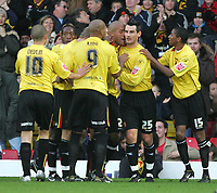 Photo: Frances Leader.<br />Watford v Sheffield Wednesday. Coca Cola Championship.<br />19/11/2005.<br />Watford's Clarke Carlisle celebrates the first goal of the match against Watford.