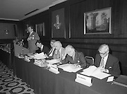 07/11/1982<br /> 11/07/1982<br /> 07 November 1982<br /> Fitzwilton Limited, Annual General Meeting at the Berkeley Court Hotel, Dublin. Picture shows (l-r): Dr. A.J.F. (Tony) O'Reilly, Chairman; J.R. McCluskey, Secretary; Vincent A. Ferguson, Director; Sir Basil Goulding, Director; The Lord Killanin, Director and Dr. M.E. Dockrell, Director at the meeting.