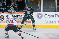 KELOWNA, CANADA - JANUARY 23: Noah Juulsen #3 of Everett Silvertips passes the puck against the Kelowna Rockets on January 23, 2015 at Prospera Place in Kelowna, British Columbia, Canada.  (Photo by Marissa Baecker/Shoot the Breeze)  *** Local Caption *** Noah Juulsen;