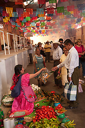 North America, Mexico, Oaxaca Province, Tlacolula, woman selling fruits and vegetables in market