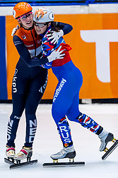 13-01-2019 NED: ISU European Short Track Championships 2019 day 3, Dordrecht<br /> Suzanne Schulting of Netherlands reacts after finishing first in the Ladies 3000m super final during the ISU European Short Track Speed Skating Championships. / Sofia Prosvirnova #4 RUS