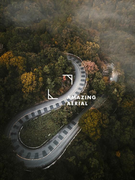 Aerial view of the widing road in Higashiyama Mount Peak Park, Awadaguchi Kodaiji Yamacho, Kyoto Japan
