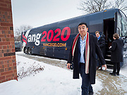 22 JANUARY 2020 - CHARLES CITY, IOWA: ANDREW YANG gets off his campaign bus for a campaign event during a snow storm at the public library in Charles City, IA. Yang, an entrepreneur, is running for the Democratic nomination for the US Presidency in 2020. He is in northern Iowa as a part of his 17 day bus tour across the state. Iowa hosts the the first election event of the presidential election cycle. The Iowa Caucuses will be on Feb. 3, 2020.         PHOTO BY JACK KURTZ