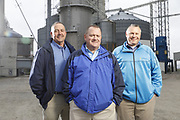 SHOT 10/29/18 9:55:22 AM - Sunrise Cooperative is a leading agricultural and energy cooperative based in Fremont, Ohio with members spanning from the Ohio River to Lake Erie. Sunrise is 100-percent farmer-owned and was formed through the merger of Trupointe Cooperative and Sunrise Cooperative on September 1, 2016. Photographed at the Clyde, Ohio grain elevator was George D. Secor President / CEO and John Lowry<br /> Chairman of the Board of Directors with  CoBank RM Gary Weidenborner. (Photo by Marc Piscotty © 2018)