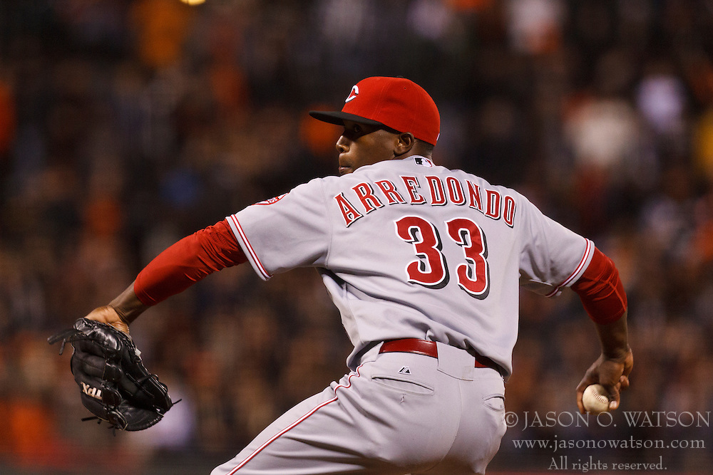 SAN FRANCISCO, CA - JUNE 28: Jose Arredondo #33 of the Cincinnati Reds pitches against the San Francisco Giants during the eighth inning at AT&T Park on June 28, 2012 in San Francisco, California. The San Francisco Giants defeated the Cincinnati Reds 5-0. (Photo by Jason O. Watson/Getty Images) *** Local Caption *** Jose Arredondo