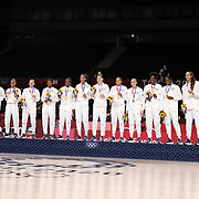 TOKYO, JAPAN August 8:  The United States Women's basketball team on the podium for the gold medal presentation after the Japan V USA basket final for women at the Saitama Super Arena during the Tokyo 2020 Summer Olympic Games on August 8, 2021 in Tokyo, Japan. (Photo by Tim Clayton/Corbis via Getty Images)