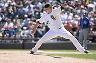 CHICAGO - JUNE 14:  Javy Guerra of the Chicago White Sox pitches against the Kansas City Royals on June 14, 2014 at U.S. Cellular Field in Chicago, Illinois.   (Photo by Ron Vesely)