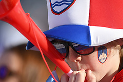 March 22, 2019 - Planica, Slovenia - A spectator seen cheering during the FIS Ski Jumping World Cup Flying Hill Individual competition in Planica. (Credit Image: © Milos Vujinovic/SOPA Images via ZUMA Wire)