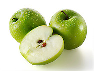 Whole & cut Granny Smiths apples