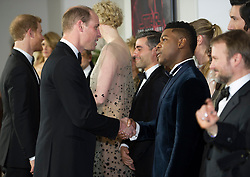 The Duke of Cambridge and Prince Harry attend The European Premiere of Star Wars: The Last Jedi, at the Royal Albert Hall, London, UK, on the 12th December 2017. Picture by Eddie Mulholland/WPA-Pool. 12 Dec 2017 Pictured: Prince William, Duke of Cambridge, John Boyega. Photo credit: MEGA TheMegaAgency.com +1 888 505 6342