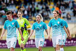Kristina Erman of Slovenia, Zala Mersnik of Slovenia, Lara Ivanusa of Slovenia, Lara Prasnikar of Slovenia during football match between Slovenia and Germany in Womans Qualifications for World Championship 2019, on April 10, 2018 in Sports park Domzale, Domzale, Slovenia. Photo by Ziga Zupan / Sportida