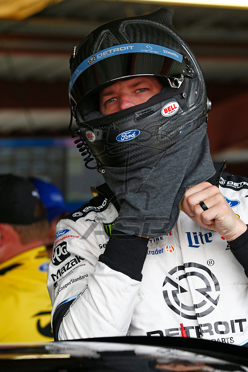 April 29, 2017 - Richmond, Virginia, USA: Brad Keselowski (2) hangs out in the garage during practice for the Toyota Owners 400 at Richmond International Speedway in Richmond, Virginia.