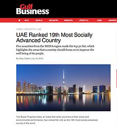 Gulf Business magazine; night skyline of Dubai