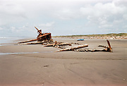 CS00632-14. Wreck of the Peter Iredale on the Oregon coast at Clatsop Sands (now called Clatsop Spit) near Battery Russell in Fort Stevens State Park 1958