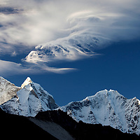 October 2009 WWF Everest mountains in the morning from Dengboche looking towards and near Ama Dablam