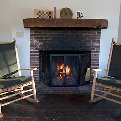 The fire place in the Appalachian Mountain Club's Cardigan Lodge.