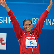 Lotte Friis, Denmark, winning the Women's 800m Freestyle Gold at the World Swimming Championships in Rome on Saturday, August 01, 2009. Photo Tim Clayton.