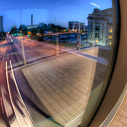 In the Link skywalk between Union Station and Crown Center, Kansas City Missouri.