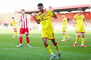 Max Melbourne of Walsall declaring he did not initiate the tackle during the EFL Sky Bet League 2 match between Stevenage and Walsall at the Lamex Stadium, Stevenage, England on 20 February 2021.