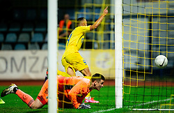 Dario Kolobaric of NK Domzale celebrates after scoring against Azbe Jug of NK Maribor during football match between NK Domzale and NK Maribor in 2nd Round of Prva liga Telekom Slovenije 2020/21, on August 30, 2020 in Športni park Domzale, Slovenia. Photo by Vid Ponikvar / Sportida