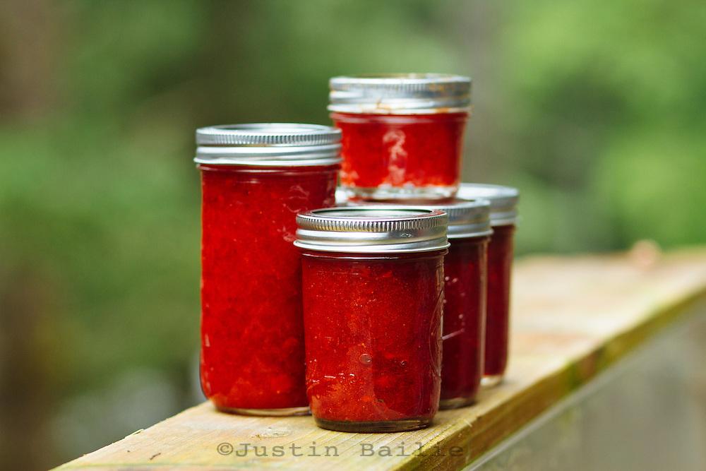 Strawberry freezer jam.